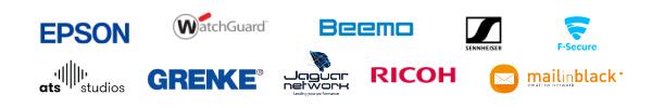 Logo d'Epson, WatchGuard, Beemo, Sennheiser, F-Secure, ATS Studios, Grenke, Jaguar Network, Ricoh et MailinBlack